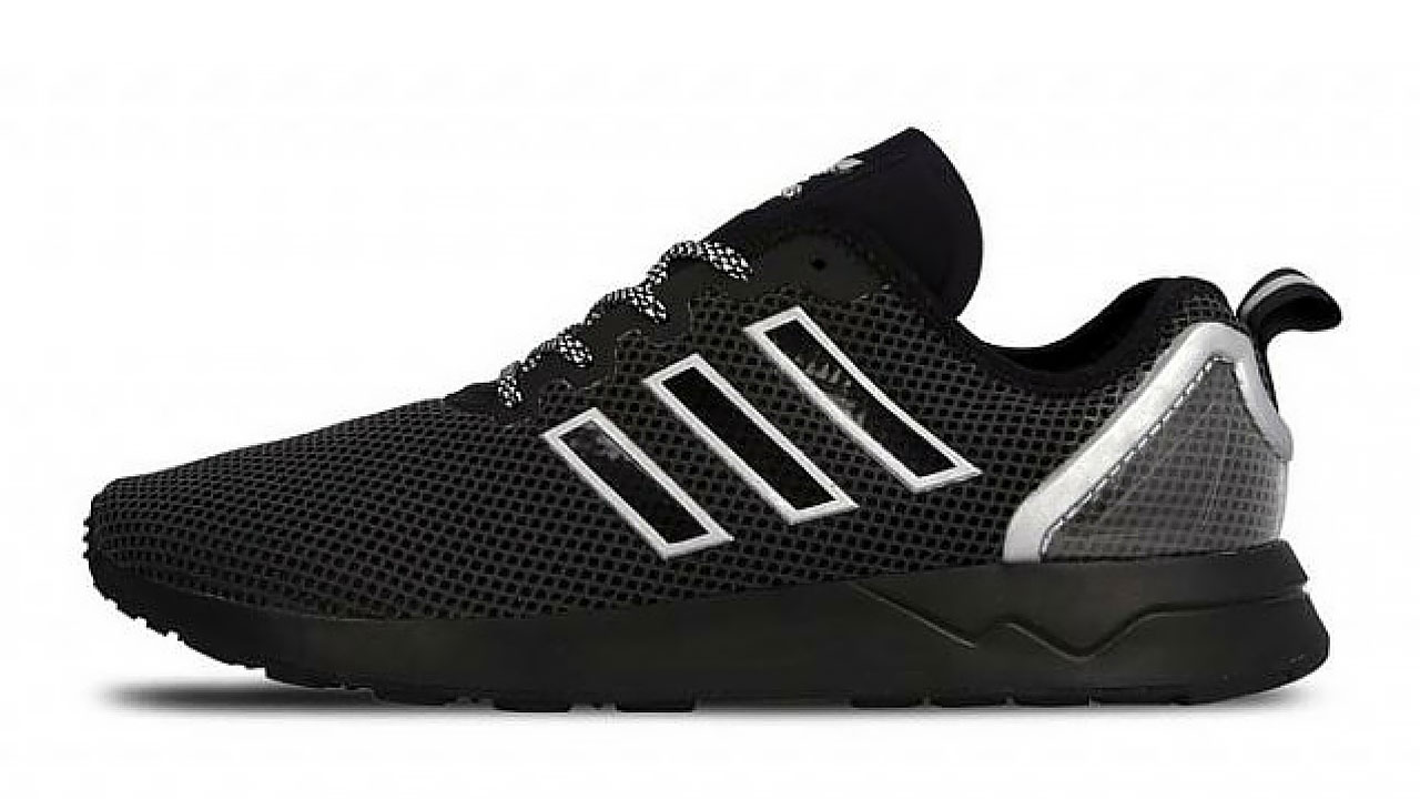 72fa06455 The Adidas ZX Flux ADV comes in a black and white option with a translucent  hell caging and black mesh on the upper body and toe tip. The famous three  ...